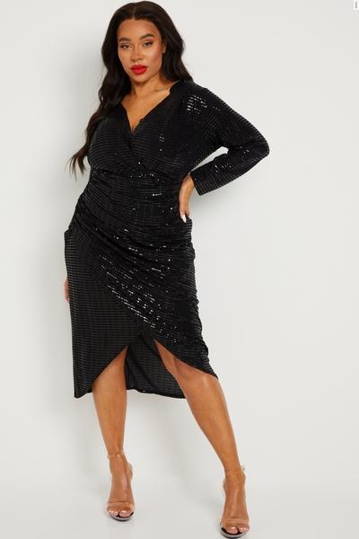 Curve Black Sequin Wrap Midi Dress